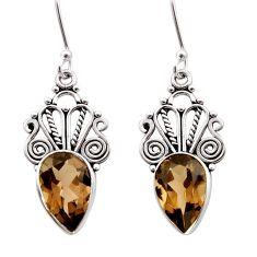 925 sterling silver 8.77cts brown smoky topaz dangle earrings jewelry d40957
