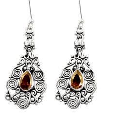 925 sterling silver 4.52cts brown smoky topaz dangle earrings jewelry d41044