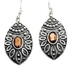 925 sterling silver 3.29cts brown smoky topaz dangle earrings jewelry d45719