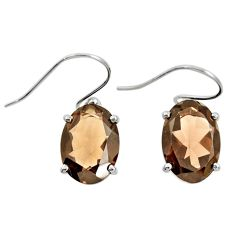 925 sterling silver 11.70cts brown smoky topaz dangle earrings jewelry r25828