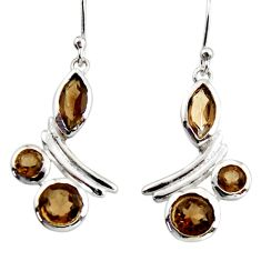 925 sterling silver 8.77cts brown smoky topaz dangle earrings jewelry r36758