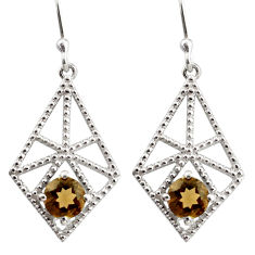 925 sterling silver 2.47cts brown smoky topaz dangle earrings jewelry r36878