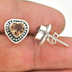 925 sterling silver 2.71cts brown smoky topaz stud earrings jewelry t41566