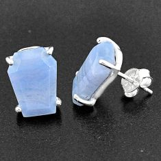 925 sterling silver 9.96cts coffin natural blue lace agate earrings t1024