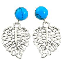 925 sterling silver fine blue turquoise deltoid leaf earrings jewelry c11681