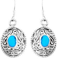 925 sterling silver 4.25gms fine blue turquoise enamel dangle earrings c11763