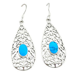 925 sterling silver fine blue turquoise enamel dangle earrings jewelry c11791