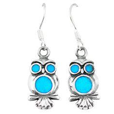 925 sterling silver fine blue turquoise enamel owl earrings a55539 c14358