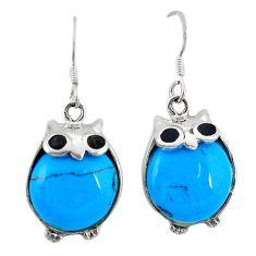 925 sterling silver fine blue turquoise onyx owl earrings jewelry c26075