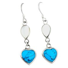 925 sterling silver fine blue turquoise pearl enamel earrings jewelry c11602