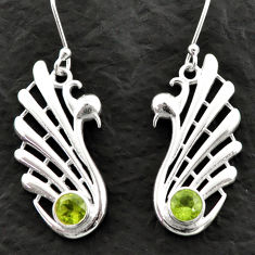 925 sterling silver 1.99cts fine green peridot dangle earrings jewelry d39992