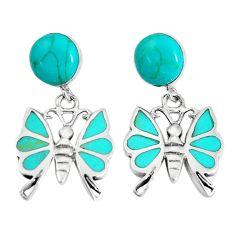 925 sterling silver 5.79cts fine green turquoise butterfly earrings c20907
