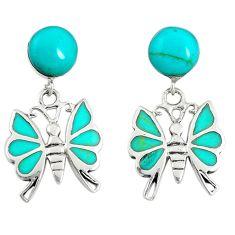 925 sterling silver fine green turquoise butterfly earrings jewelry c22192
