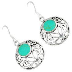 Fine green turquoise 925 sterling silver dangle earrings jewelry c11573