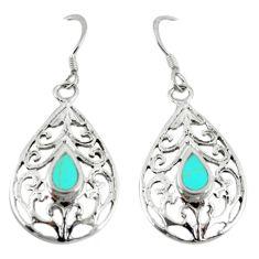 925 sterling silver fine green turquoise enamel dangle earrings c26074