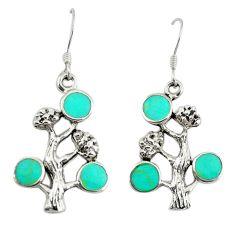 925 sterling silver fine green turquoise enamel tree of life earrings c11845