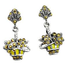 925 sterling silver fine marcasite enamel flower basket earrings jewelry c22411