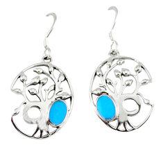 925 sterling silver fine blue turquoise enamel tree of life earrings c11675