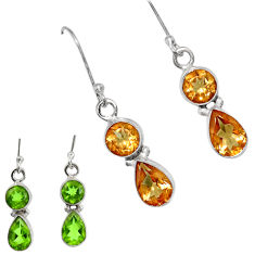 Clearance Sale- 925 sterling silver 7.85cts green alexandrite (lab) dangle earrings d40193