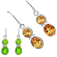 Clearance Sale- 925 sterling silver 10.41cts green alexandrite (lab) dangle earrings d40199