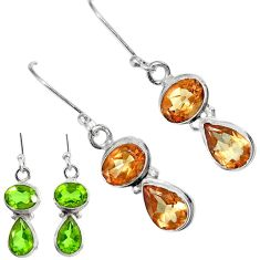 Clearance Sale- 925 sterling silver 6.95cts green alexandrite (lab) dangle earrings d40212