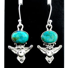 925 sterling silver 5.55cts green arizona mohave turquoise owl earrings t37354