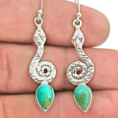925 sterling silver 4.13cts green arizona mohave turquoise snake earrings t40239