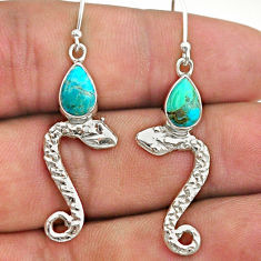 925 sterling silver 4.02cts green arizona mohave turquoise snake earrings t40276