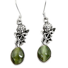 Clearance Sale- 925 sterling silver 8.42cts green cat's eye angel earrings jewelry d40474