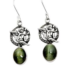 Clearance Sale- 925 sterling silver 8.83cts green cat's eye angel wings fairy earrings d40480