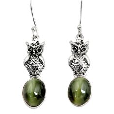 Clearance Sale- 925 sterling silver 8.05cts green cats eye owl earrings jewelry d40477