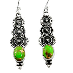 Clearance Sale- 925 sterling silver 3.98cts green copper turquoise dangle earrings d41214
