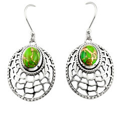 925 sterling silver 4.50cts green copper turquoise dangle earrings r19808