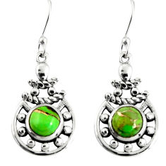 925 sterling silver 2.35cts green copper turquoise dangle earrings r19830