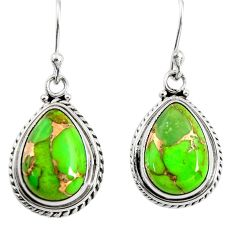 925 sterling silver 10.37cts green copper turquoise dangle earrings r25023