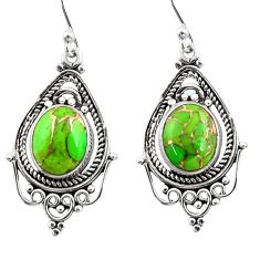 925 sterling silver 7.97cts green copper turquoise dangle earrings r30836