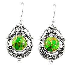 925 sterling silver 7.67cts green copper turquoise dangle earrings r30844
