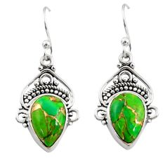 925 sterling silver 7.83cts green copper turquoise dangle earrings r30984
