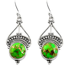 925 sterling silver 6.45cts green copper turquoise dangle earrings r31010