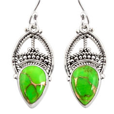 925 sterling silver 7.97cts green copper turquoise dangle earrings r31037