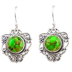 925 sterling silver 7.24cts green copper turquoise dangle earrings r31060