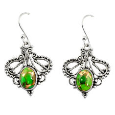 925 sterling silver 4.06cts green copper turquoise dangle earrings r31153