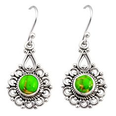 925 sterling silver 2.78cts green copper turquoise dangle earrings r31224