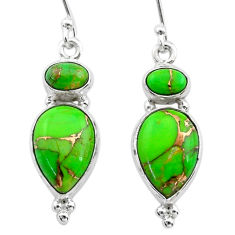 925 sterling silver 10.02cts green copper turquoise dangle earrings t19524