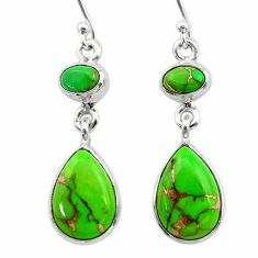 925 sterling silver 10.31cts green copper turquoise dangle earrings t19528