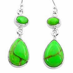 925 sterling silver 9.74cts green copper turquoise dangle earrings t19567