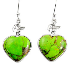 Clearance Sale- 925 sterling silver 14.22cts green copper turquoise dangle heart earrings d39504