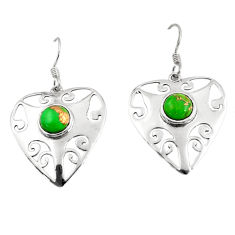 Clearance Sale- 925 sterling silver 5.27cts green copper turquoise dangle heart earrings d45730
