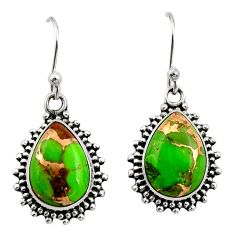 925 sterling silver 10.37cts green copper turquoise earrings jewelry r26584