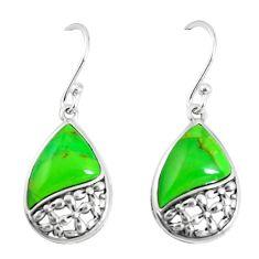 925 sterling silver 5.22cts green copper turquoise fancy earrings jewelry c25977